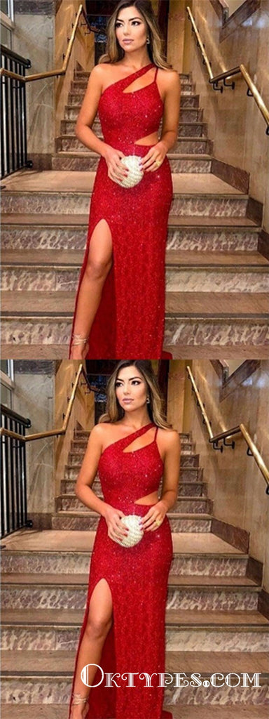 Sexy One-Shoulder Sleeveless Red Side-Slit Sequins Prom Dresses, TYP1923
