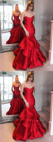 2019 Sexy Red Satin Sweetheart lace Up Long Mermaid Prom Dresses, TYP1457