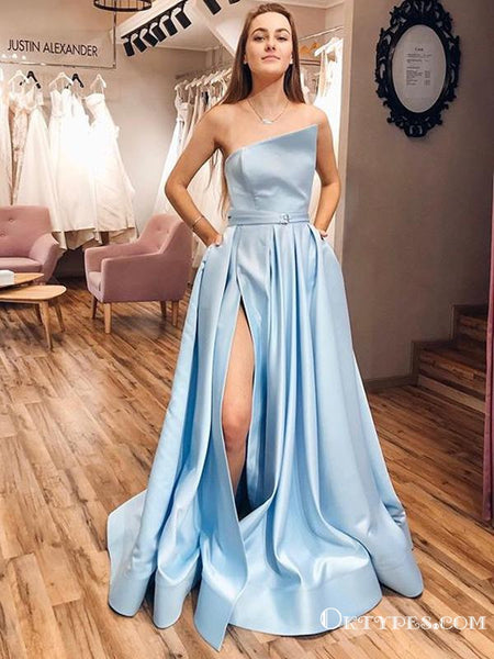 New Arrival Charming Sky Blue Satin Strapless A-Line Split Long Cheap Prom Dresses with Pockets, PDS0035