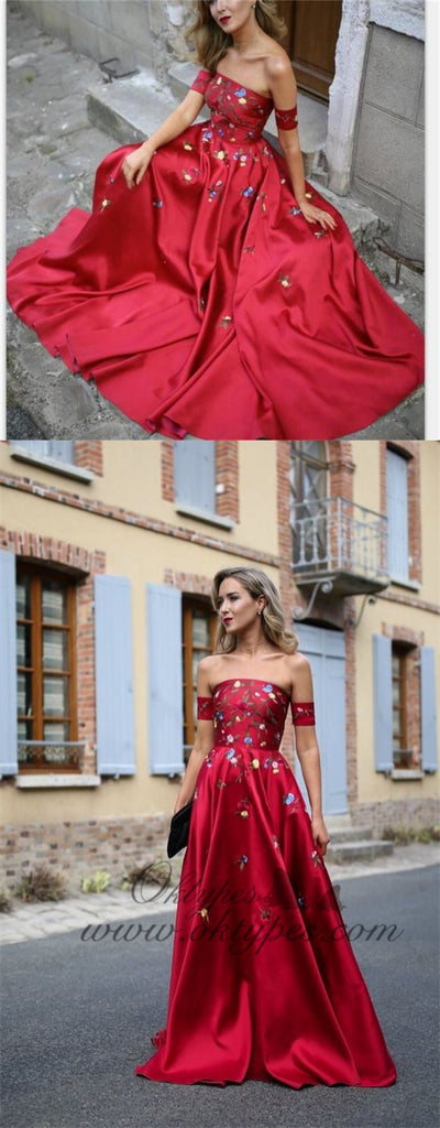 A-line Red Off Shoulder Beautiful Flower Appliques Prom Dresses, Fashion Dress For Woman, TYP1165