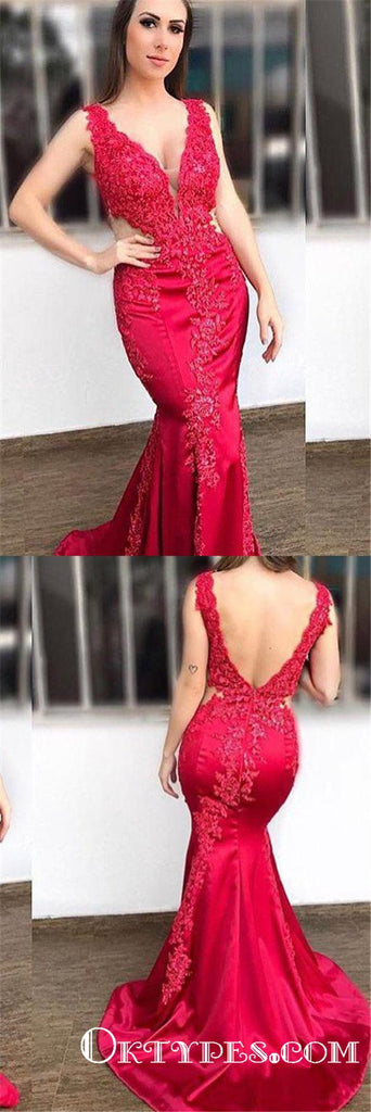 Mermaid V-Neck Lace Appliques Long Cheap Red Prom Dresses, TYP1794