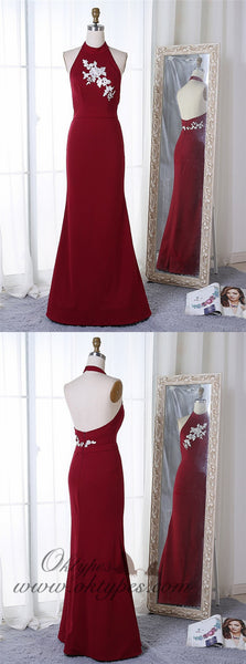 Mermaid Halter Floor-Length Dark Red Prom Dress with Pearls Appliques, TYP1395