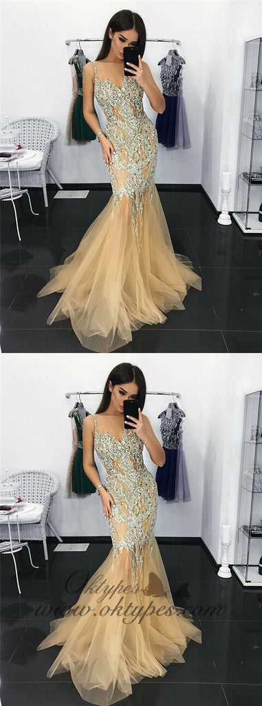 Mermaid Illusion Neck Champagne Tulle Prom Dresses with Appliques Sequins, TYP1385