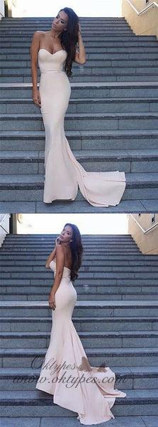 2019 Mermaid Sweetheart Zipper-Up Sweep Train Ivory Prom Dresses, TYP1506