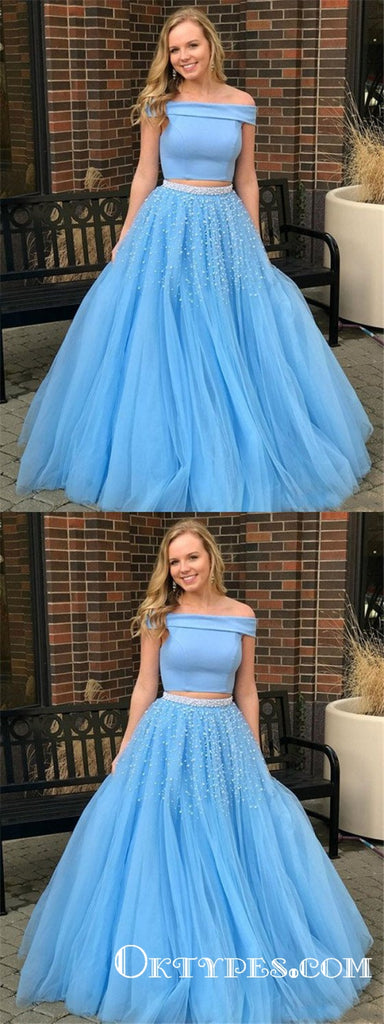 Two Piece Off-the-Shoulder Blue Sweep Train Prom Dresses with Beading, TYP1869