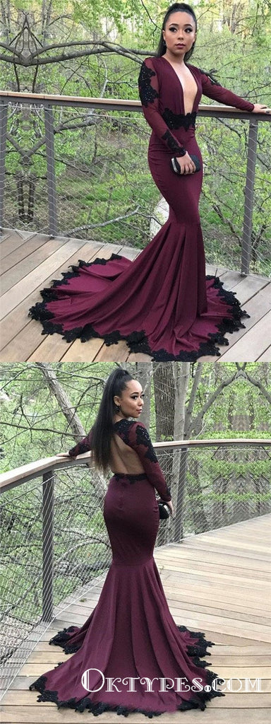 Mermaid Burgundy Long Sleeve Modest Cheap Long Prom Dresses, TYP1915