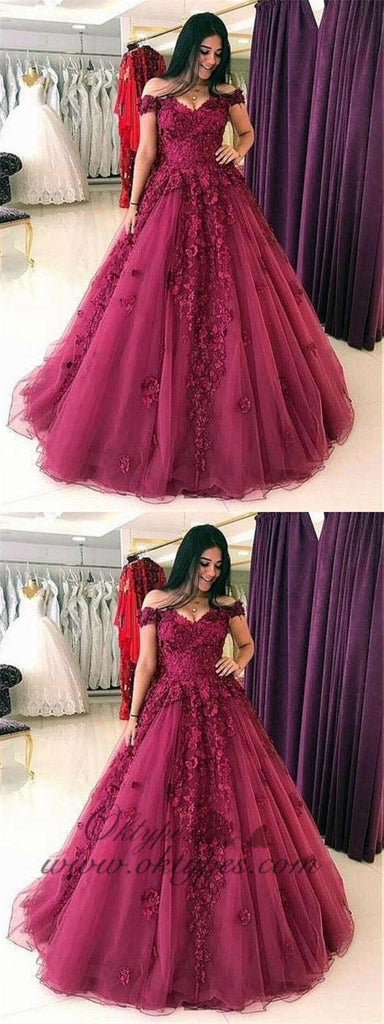 Burgundy Off The Shoulder Ball Gown Long Tulle Prom Dresses, TYP1458