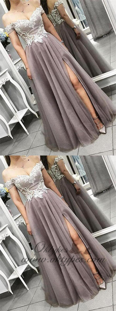 Dusty Purple Off the Shoulder Side Slit A Line Lace Tulle Prom Dresses, TYP1442