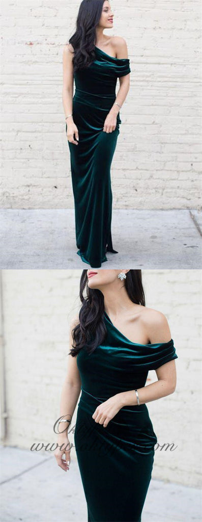 Charming One Shoulder Long Sheath Emerald Green Velvet Prom Dresses, TYP1610