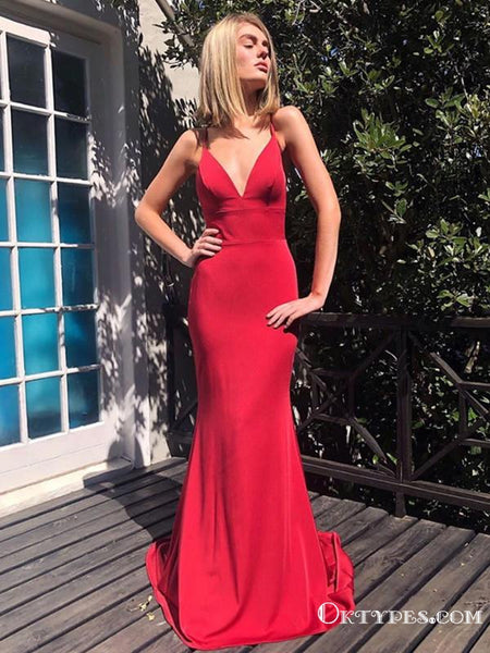 Charming Simple Sexy V Neck Spaghetti Straps Mermaid Backless Red Satin Long Cheap Prom Dresses, PDS0042
