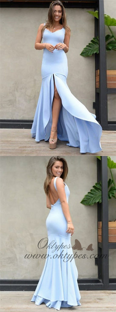Mermaid Scoop Backless Blue Satin Prom Dresses with Split, TYP1336