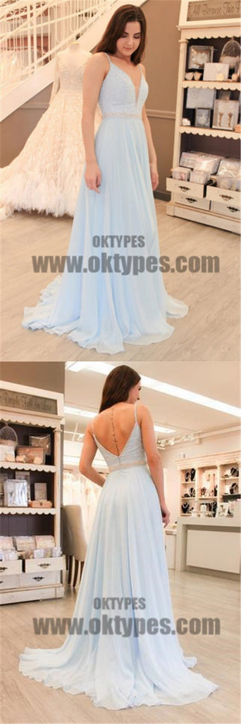 Spaghetti Beaded Light Blue Chiffon Prom Dresses, Formal Dresses, Evening Dresses, TYP0699