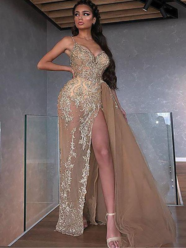 2020 Champagne Mermaid Spaghetti Split Beaded Appliques Tulle Floor Length Formal Party Prom Dresses, PDS0064