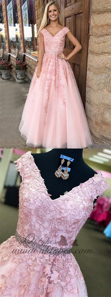 Pink A-Line V-neck Formal Tulle Long Prom Dresses With Applique, TYP1451