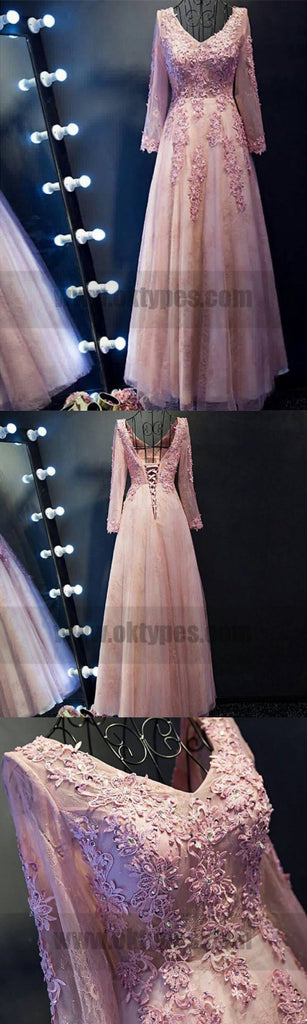 Cheap Long Sleeve Pink Prom  Dresses Dazzling Long A-line Princess Applique Lace Up Dresses, TYP0722