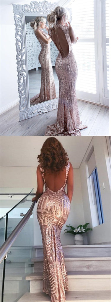 2019 Open Back Sequin Sparkly Mermaid Fashion Sexy Elegant Prom Dresses, Evening Party Dresses, TYP1159