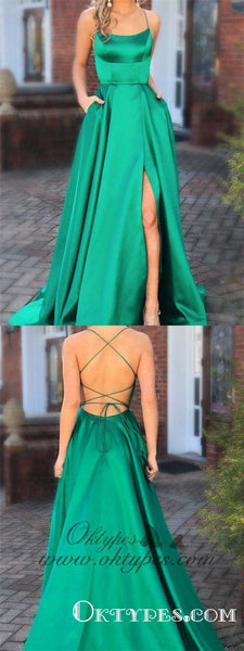 Green Prom Dresses with Pocket Long Backless Slit Formal Evening Ball Gowns, TYP1225