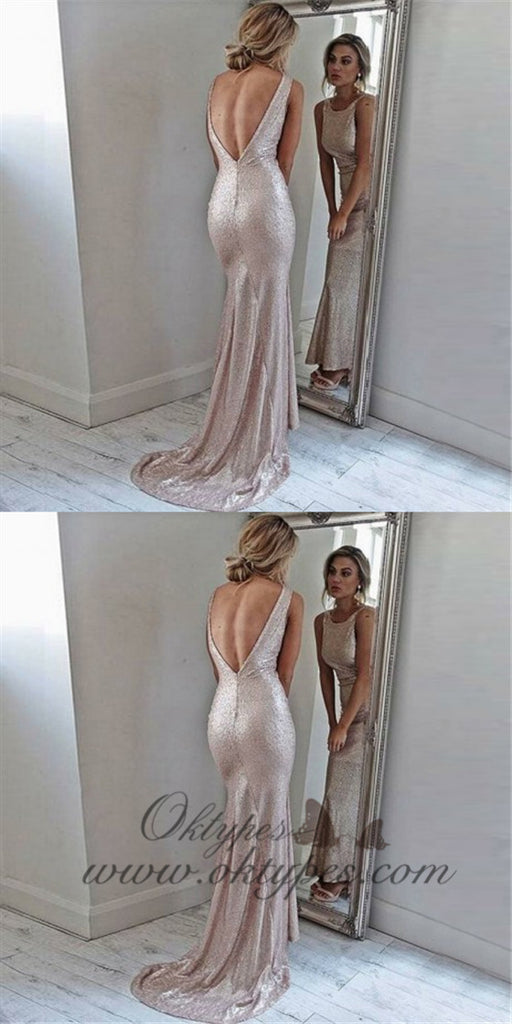 Mermaid Round Neck Long Cheap Backless Rose Gold Sequined Prom Dresses, TYP1263