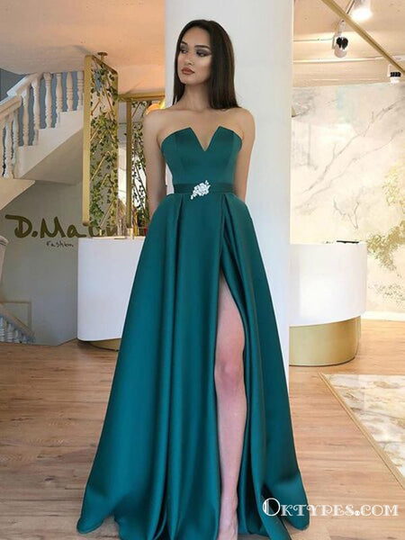 New Arrival Charming Satin Long Belt Strapless High Slit Green A Line Cheap Formal Evening Prom Dresses, PDS0048