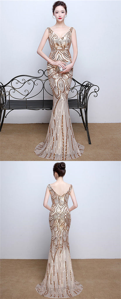 2021 Sparkle Gold Sequin Deep V Neck Long Mermaid Prom Dresses, TYP1381