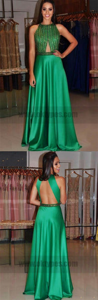 Cheap Sleeveless Green Prom  Dresses Appealing Long A-line  Keyhole Open-back Dresses, TYP0724