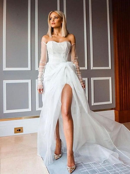 Off-The-Shouler Long Sleeves Ivory Organza Sexy Side Slit A-line Long Cheap Prom Dresses, PDS0074