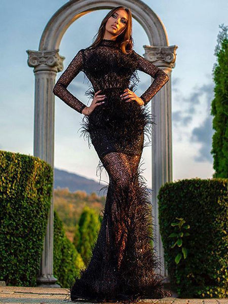 Elegant Charming High Neck Long Sleeves Black Lace Mermaid Long Cheap Formal Evening Prom Dresses, PDS0073