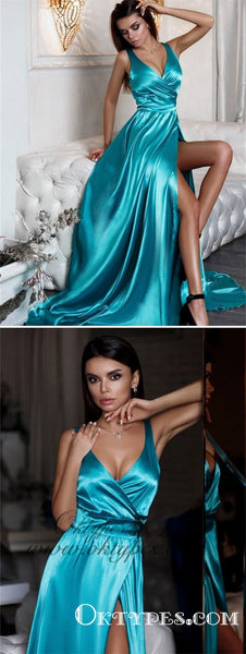 2019 Sexy V-neck Turquoise Simple Long Cheap Prom Dresses With Side Slit, TYP1514