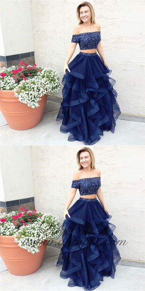 Two Piece Off the Shoulder Navy Blue Tulle Prom Dresses with Beading, TYP1269