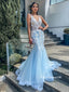 Elegant V-neck Blue Applique Tulle Long Cheap Prom Dresses, PDS0121