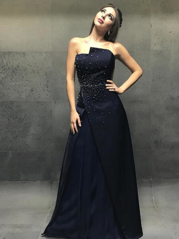 Formal Strapless Navy A-line Long Cheap Prom Dresses, PDS0110