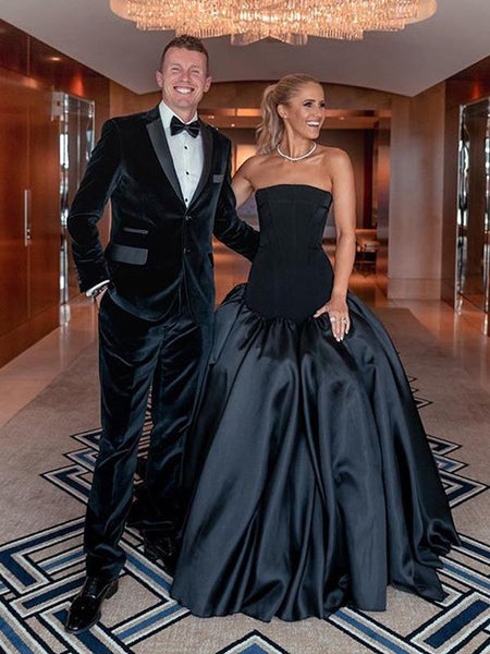 New Arrival Strapless Black Satin Ball Gown Long Cheap Evening Prom Dresses, PDS0084