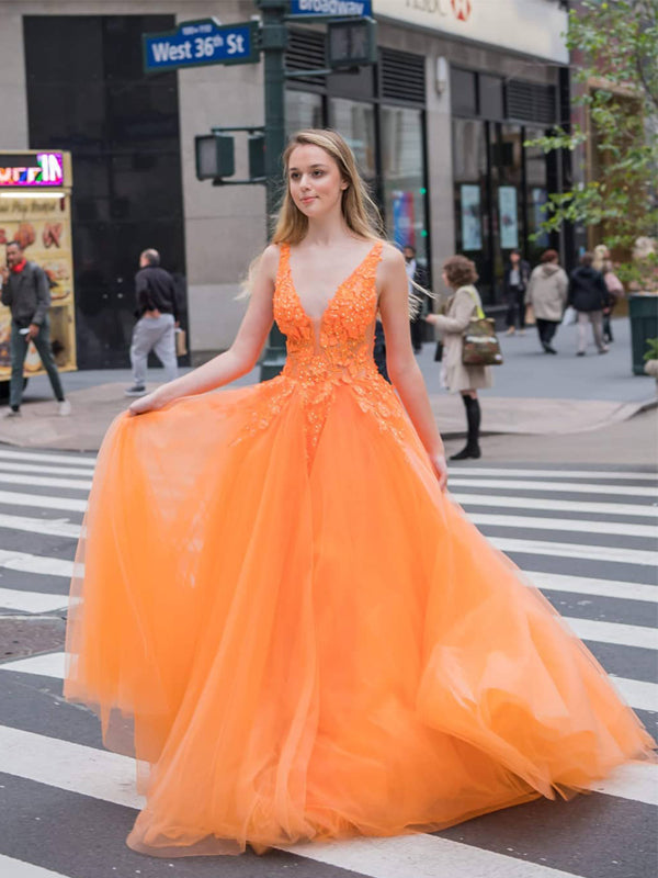 Charming V-neck Orange Tulle A-line Long Cheap Party Prom Dresses, PDS0107