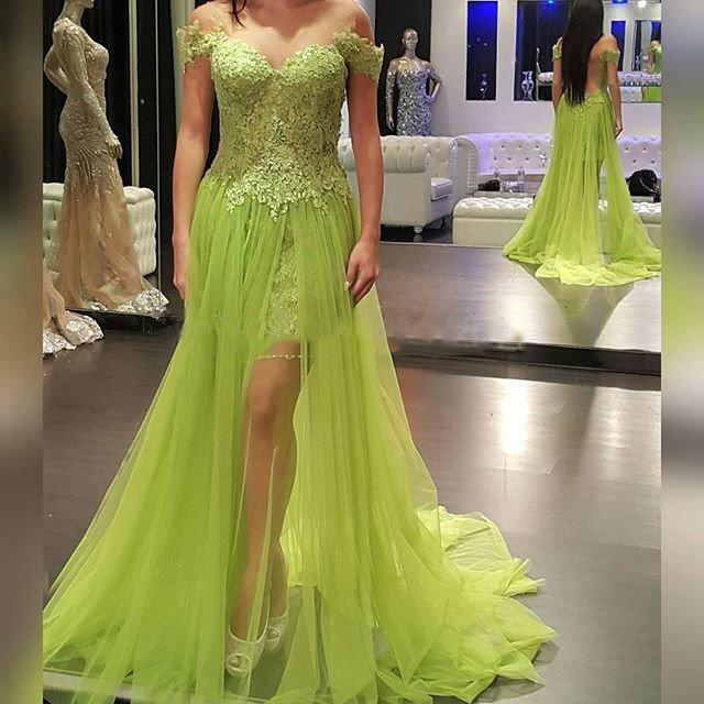 Off Shoulder Lace Top Green Tulle Long A-line See Through Popular Prom Dresses, TYP0017