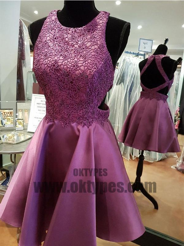 Sexy Open Back Halter Purple Cheap Homecoming Dresses 2018, TYP0665