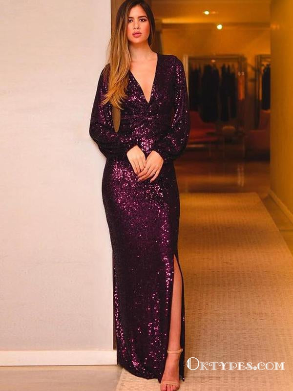 Burgundy Sequin Long Sleeves V Neck Evening Party Dresses Prom Dresses, TYP1906
