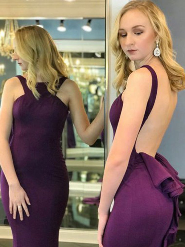 Mermaid Crew Long Cheap Grape Jersey Backless Sleeveless Prom Dresses with Ruffles, TYP1356