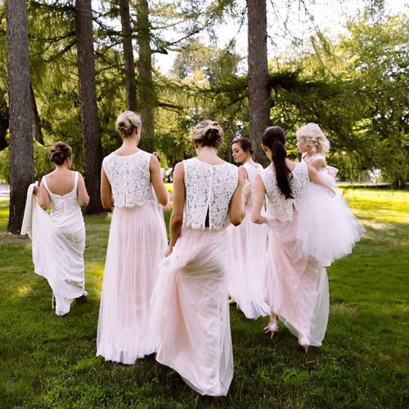 Two Piece Round Neck Blush Pink Tulle Bridesmaid Dresses with Lace, TYP1540