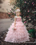 Pink Layers Tulle  2019 Lace Princess Long Ball Gown Flower Girls Dresses, TYP1953