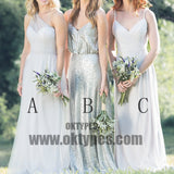 Mismatched Chiffon Sequin A Line Spaghetti Straps One Shoulder Cheap Bridesmaid Dresses, TYP0469