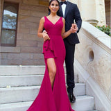 Mermaid V-Neck Red Satin Bridesmaid Dresses with Ruffles&Split, TYP1313