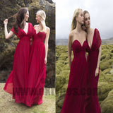 Mismatched Chiffon Prom Dresses, Convertible Bridesmaid Dresses, Long Bridesmaid Dress, TYP0701