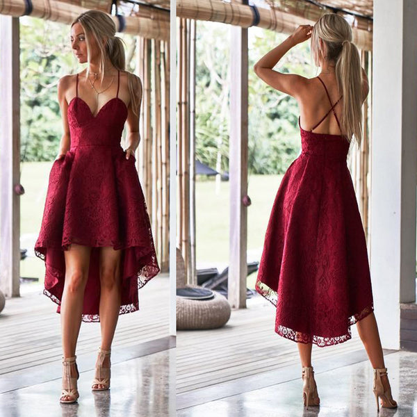 5c49fa8fbe95 Unique Spaghetti Straps High Low Red Lace Bridesmaid Dresses with Pockets,  TYP0974
