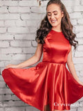 Simple Jewel Neck Cut Out Red Short Cheap Homecoming Dresses, TYP2021