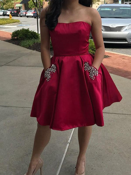 Simple Strapless Cute Cheap Beaded Red Homecoming Dresses, CM450