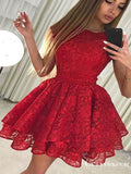 Pretty Round Neck Short Cheap Red Lace Homecoming Party Dresses, TYP1044
