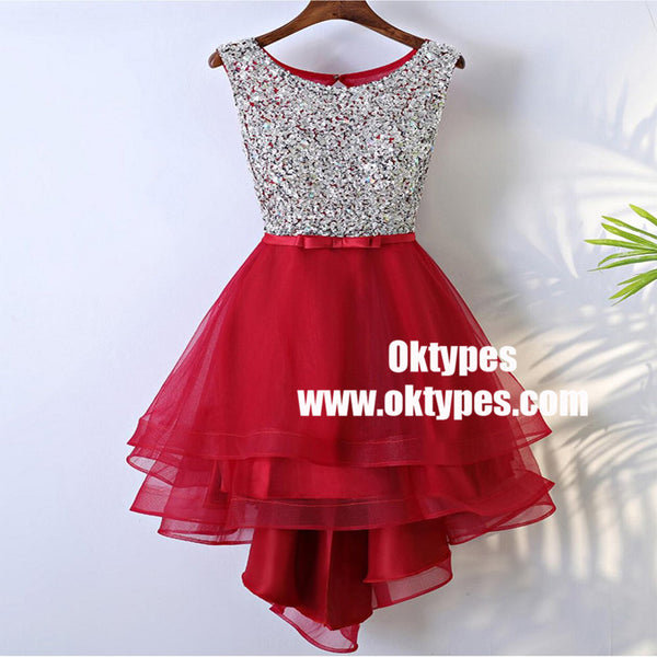 Rhinestone Sequin High Low Open Back Red Homecoming Prom Dresses, TYP0845