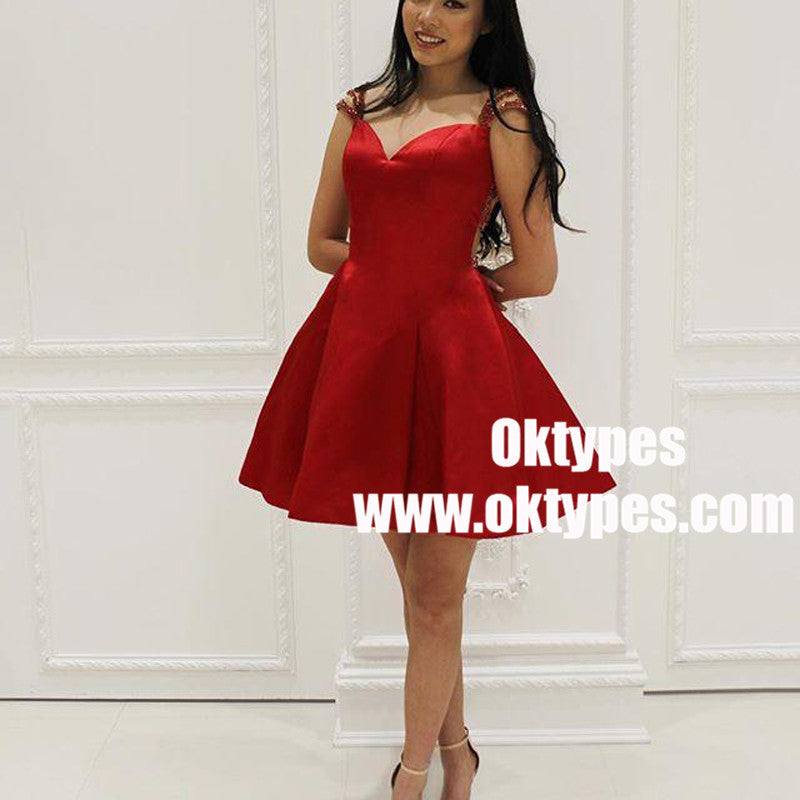 Sexy See Through Cap Sleeve Short Cheap Red Homecoming Dresses 2018, TYP0881
