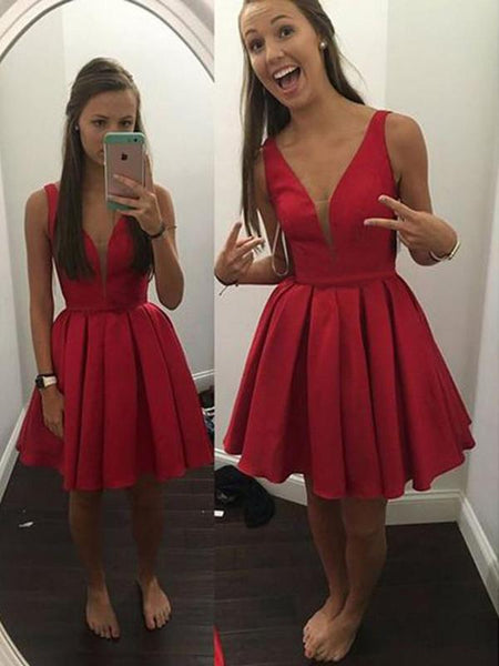Short Cheap V Neck Simple Red Homecoming Dresses Under 100 Cm462