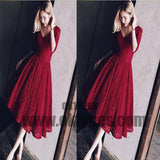2018 Homecoming Dresses, Burgundy Tea-length Short Prom Dress Party Dress, TYP0687